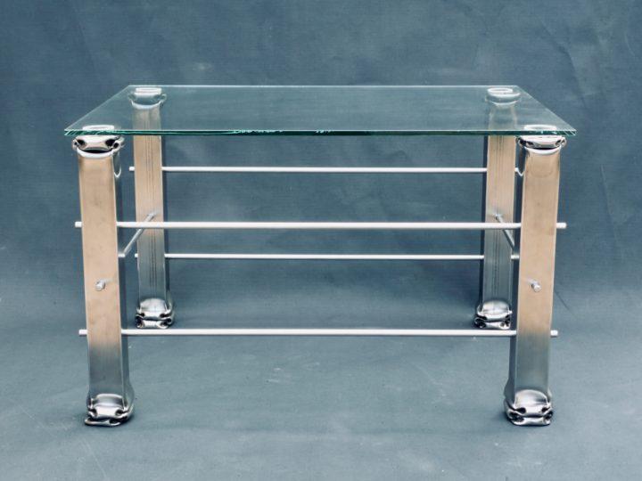 stůl, deformovaná nerezová ocel, 50x50x75 cm